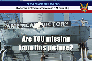 Are YOU missing from this picture? Teamwork Wins SS American Victory